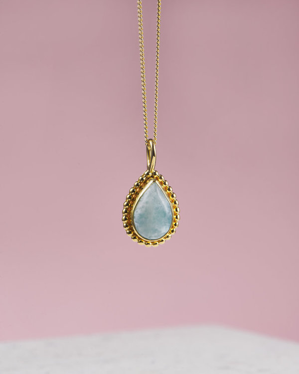 Larimar Necklace Gold